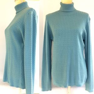 Catherine Malandrino Blue Cable Turtleneck Sweater